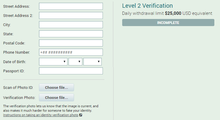Poloniex: Level 2 Verification
